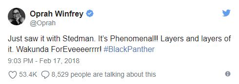 Black Panther Tweet - Oprah Winfrey